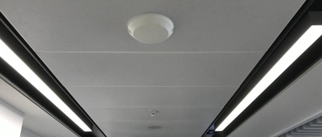 suspended acoustic ceiling - airport corridor